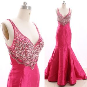 Dresses & Skirts - Mermaid Crystals Fuchsia Pageant Gown Prom Dresses